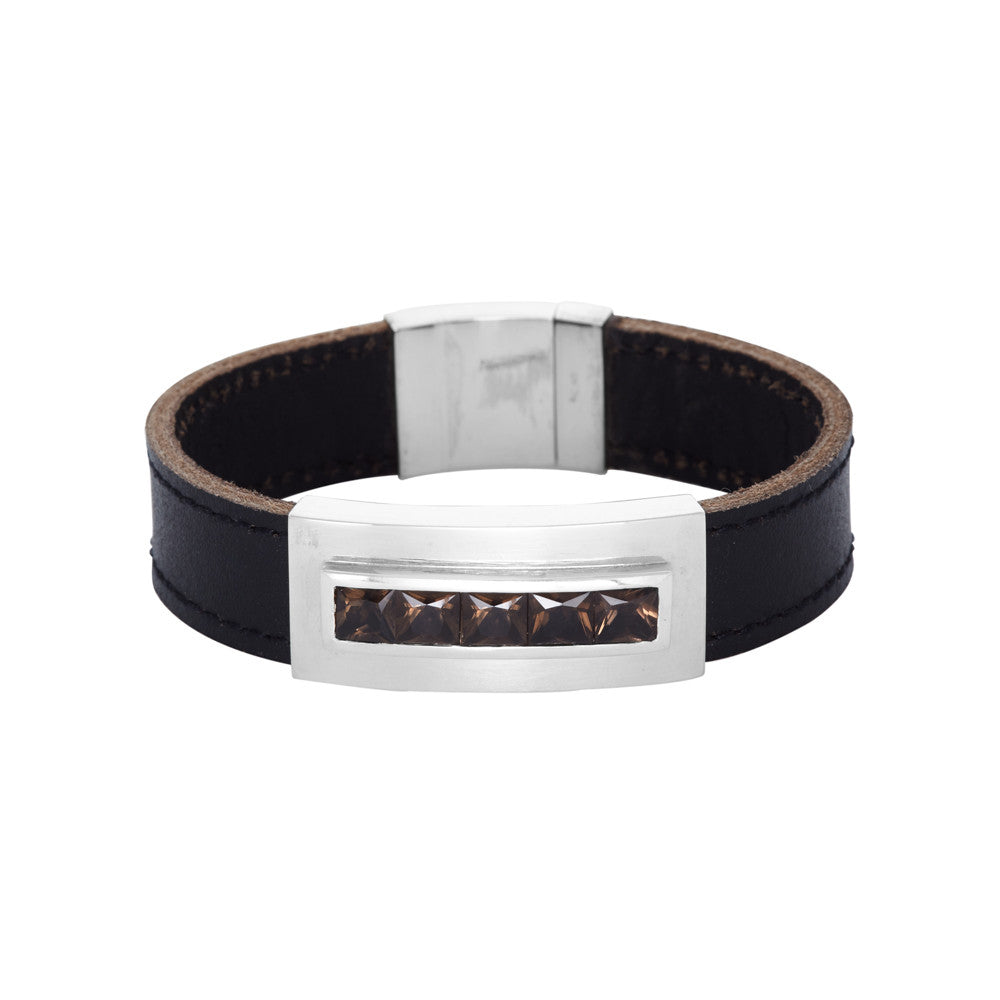 Leather and Smoky Quartz Bracelet