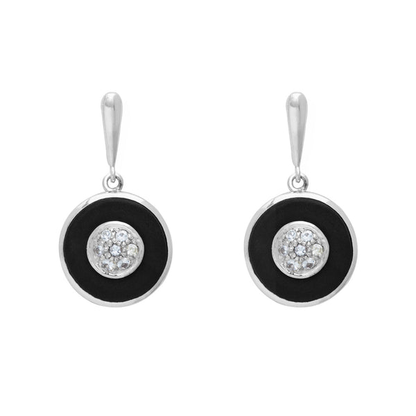 Ebony and White Sapphire Earrings
