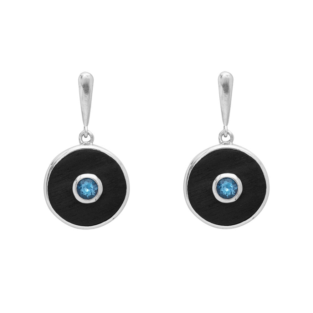 Ebony and Blue Topaz Earrings