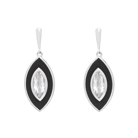 Lens-Shaped Ebony and Mountain Crystal Earrings