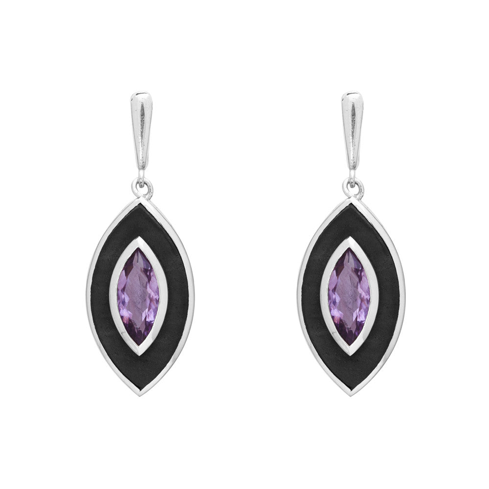 Lens-Shaped Ebony and Amethyst Earrings