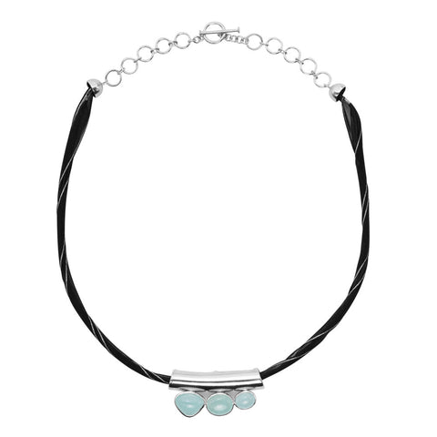Silk, Silver and Aquamarine Necklace