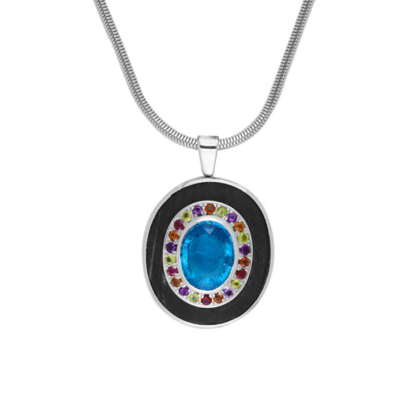 Ebony and Blue Topaz Pendant with Multicolored Stones