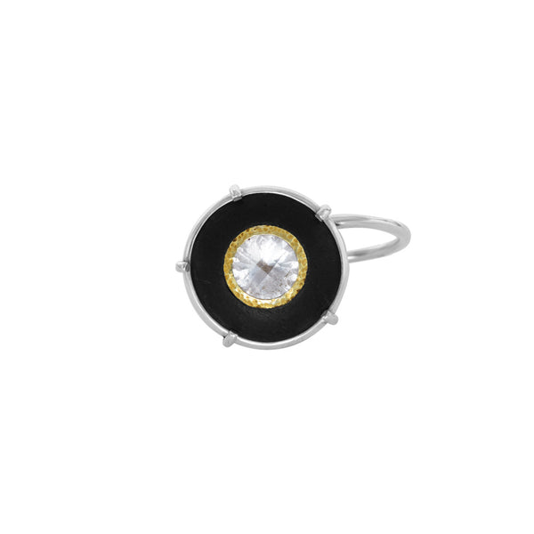 "Ebony and Mountain Crystal ""Curl"" Ring with Hammered Gold"