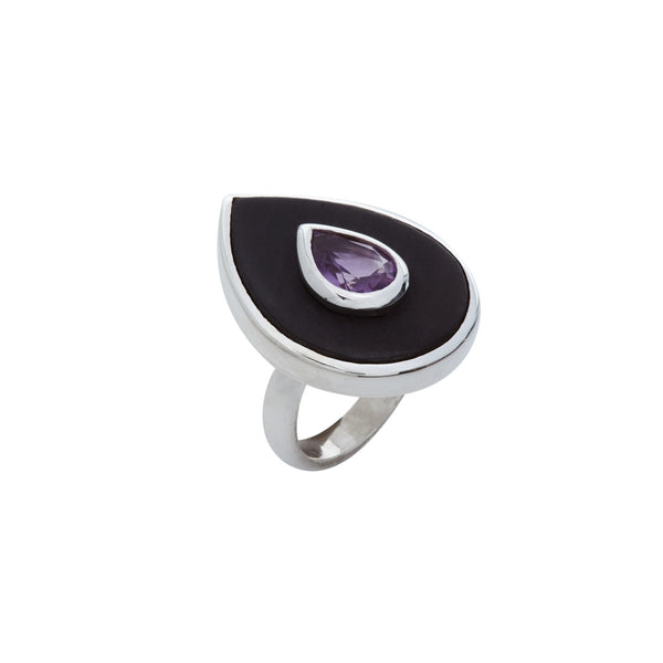 Teardrop-Shaped Ebony and Amethyst Ring