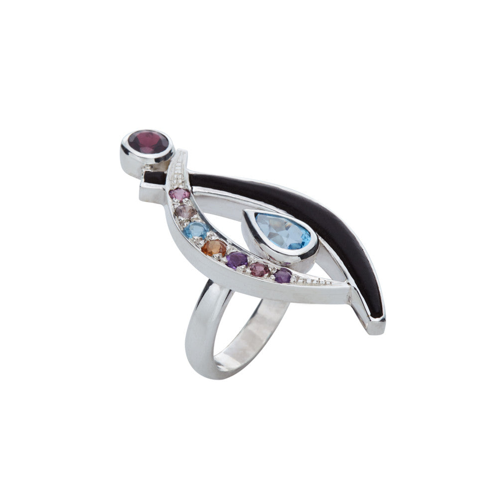 Paragraph Ring with Ebony and Multicolored Stones