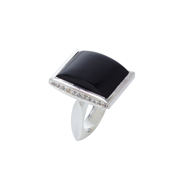 Black Onyx and Sapphire Cabochon Ring