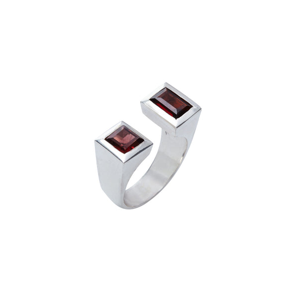 Garnet and Silver Two-Post Ring