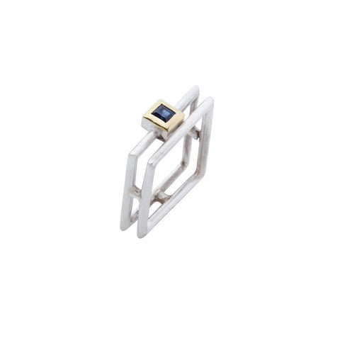 Square Blue Sapphire Ring