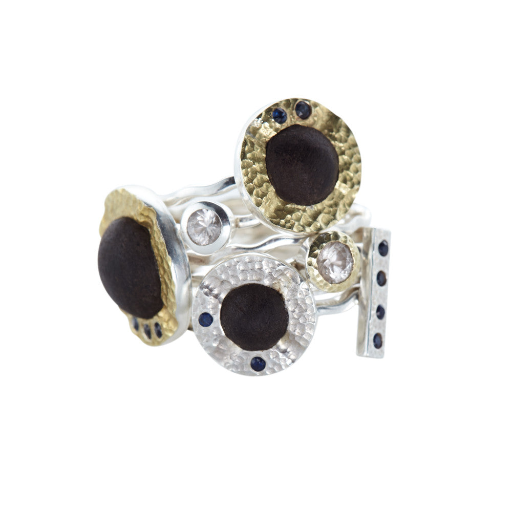 Stackable Ebony, Sapphire and Mountain Crystal Rings
