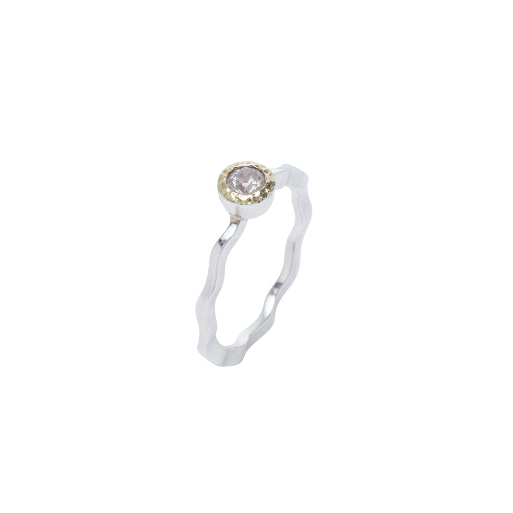 Stackable Mountain Crystal and Hammered Gold Ring