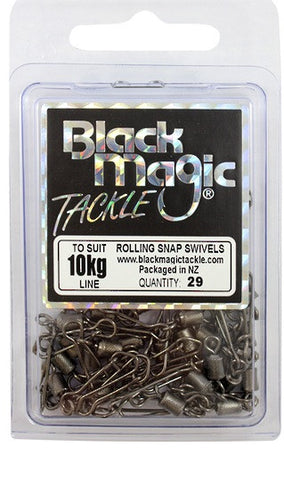 Black Magic Rolling Snap Swivel - Value Pack 10kg, 29 Pieces