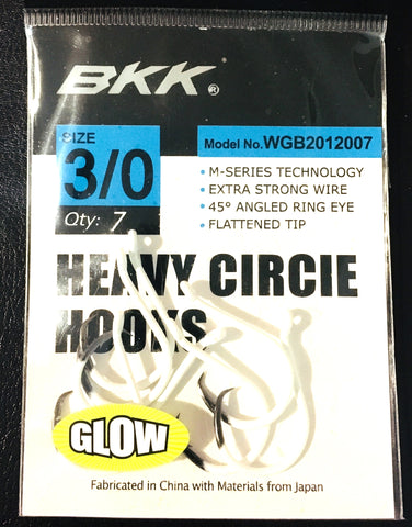 BKK Heavy Circle Hooks with UV Glow Finish - Size 3/0, 7 pieces
