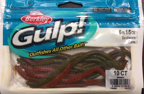 "Berkley Gulp 6"" Sandworm Fishing Soft Plastic -  Colour - Camo"