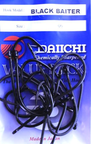 Daiichi Black Baiter Hook Value Pack - Size 2/0 , 25 Pieces