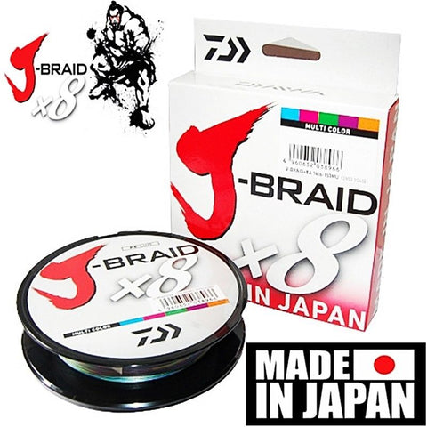 Daiwa J Braid X8 Braided Fishing Line 65lb 500m Multi Colour