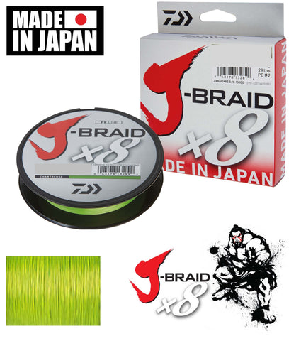 Daiwa J Braid X8 Braided Fishing Line 15lb 300m Chartreuse