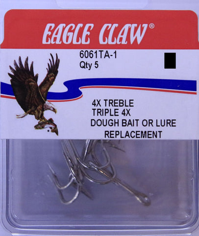 Eagle Claw Trebles - Size 1/0, 5 Pieces
