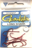 Gamakatsu Long Shank Red Hook Pocket Pack Size 1/0, 6 Pieces