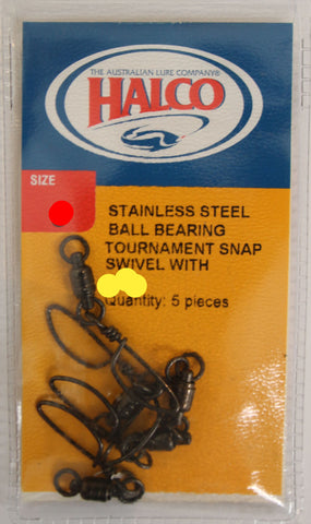 Halco Stainless Steel Ball Bearing Swivel with Tournament Snap - Size 1 70lb, 5 Pcs