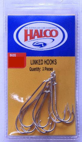 Halco Linked Gang Fishing Hooks - Size 6/0, Pack of 3 Sets