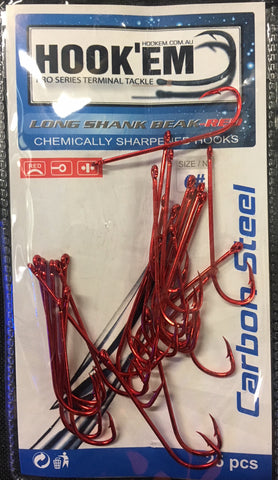 Hookem Long Shank Fishing Hook Value Pack Size 1/0, 20 Pieces