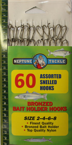 Neptune Tackle Assorted Snelled Hooks 60pk BHHA