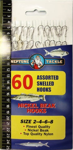 Neptune Tackle Assorted Snelled Nickel Beak Hooks 60pk BHA