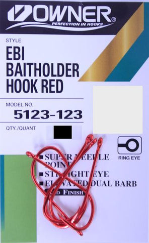 Owner Red EBI Baitholder Hook - Size 1/0, 6 Pieces