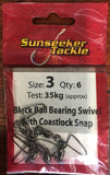 Sunseeker Black Ball Bearing Swivel with Coastlock Snap - Size 3, 6 Pieces