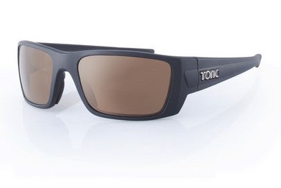 "Tonic Eyewear Glass Lens Polarised Sunglasses ""YouRanium"" Matt Black Frame Photochromic Copper"