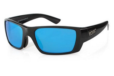 "Tonic Eyewear Glass Lens Polarised Sunglasses ""Rise"" Shiny Black Frame Blue Mirror"