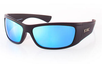 "Tonic Eyewear Glass Lens Polarised Sunglasses ""Shimmer"" Matt Black Frame Blue Mirror"