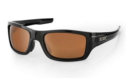 "Tonic Eyewear Glass Lens Polarised Sunglasses ""Tracker"" Shiny Black Frame Photochromic Copper"