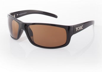 "Tonic Eyewear Glass Lens Polarised Sunglasses ""Bono"" Shiny Black Frame Photochromic Copper"
