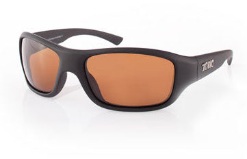 "Tonic Eyewear Glass Lens Polarised Sunglasses ""Evo"" Matt Black Frame Photochromic Copper"
