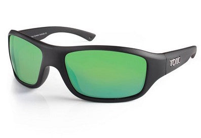 "Tonic Eyewear Glass Lens Polarised Sunglasses ""Evo"" Matt Black Frame Green Mirror"
