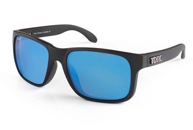 "Tonic Eyewear Glass Lens Polarised Sunglasses ""Mo"" Matt Black Frame Blue Mirror"