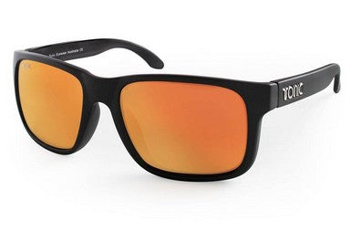 "Tonic Eyewear Glass Lens Polarised Sunglasses ""Mo"" Matt Black Frame Red Mirror"