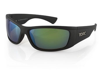 "Tonic Eyewear Glass Lens Polarised Sunglasses ""Shimmer"" Matt Black Frame Green Mirror"
