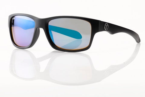 "Tonic Eyewear Glass Lens Polarised Sunglasses ""Tango"" Matt Black Frame Blue Mirror"