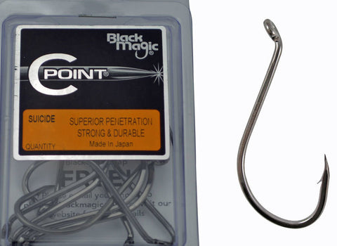 Black Magic C Point Hook - Size 7/0 Pocket Pack, 4 Pieces BMKL7/0S