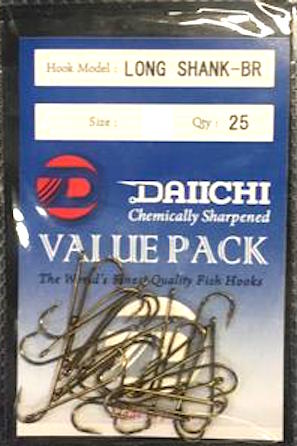 Daiichi Long Shank-BR Hook Value Pack - Size 8, 25 Pieces