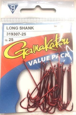 Gamakatsu Long Shank Red Hook Value Pack Size 12, 25 Pieces LS01225