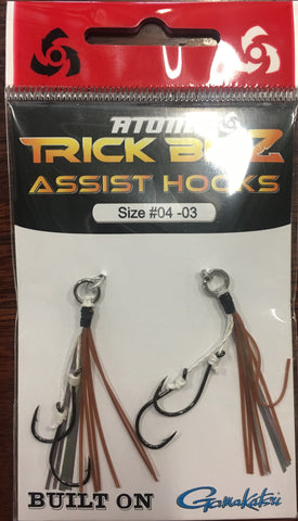 Atomic Trick Bitz Fishing Assist Hooks - Size 4 Colour - 03 Brown Silver