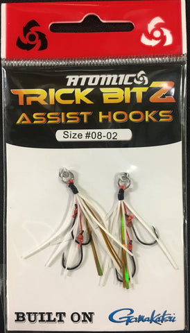 Atomic Trick Bitz Fishing Assist Hooks - Size 8 - Colour 02 White Gold