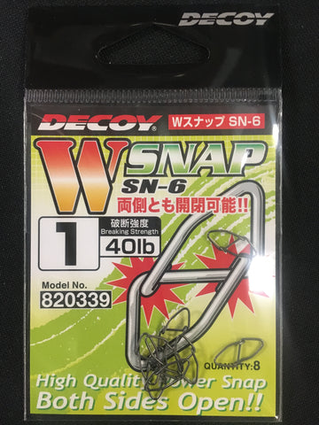 Decoy W Snap SN6 Fishing Clip - Size 1, 40lb, 8 pcs #820339