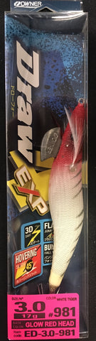 Owner Draw 4 Squid Jig - Size 3.0 #981 Glow Red Head