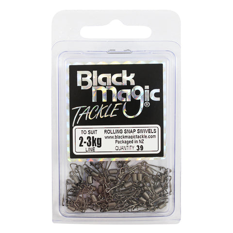 Black Magic Rolling Snap Swivel - Value Pack 2-3kg, 39 Pieces