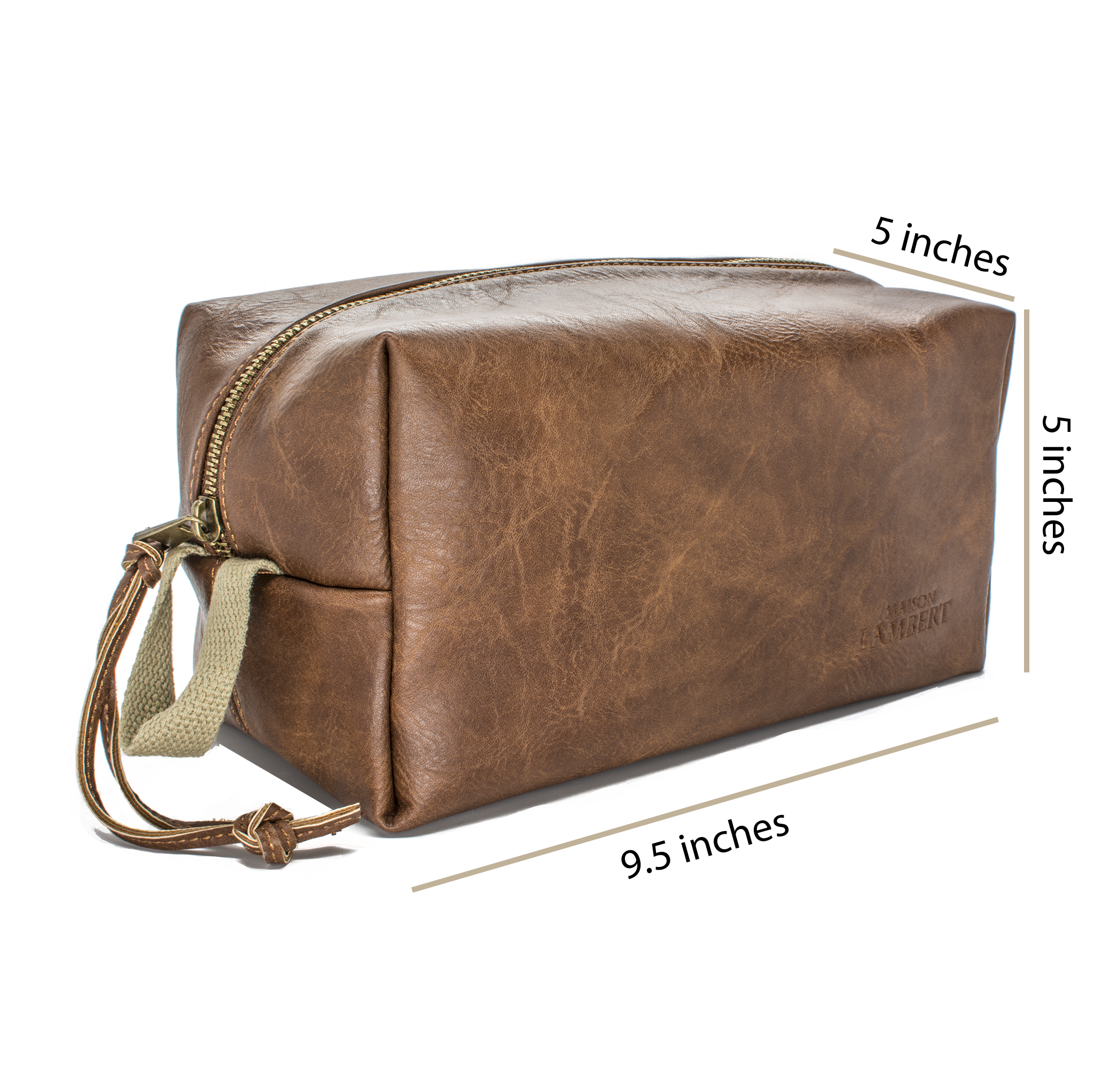 Men Toiletry Bag - Maison Lambert PU Leather Toiletry Bag For Men Vegan Toiletry Bag